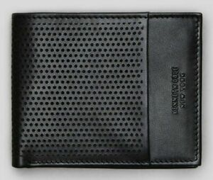 New Authentic Kenneth Cole Men's Perforated Leather Double Billfold Wallet SALE