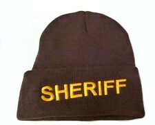 Brown Watch Cap Beanie Sheriff Gold Embroidered Letters Knit One Size New