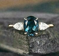 2 Ct Oval London Blue Topaz Pear Diamond 3 Stone 14K Rose Gold Engagement Ring
