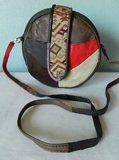 VINTAGE joli petit sac rond CUIR patchwork artisanal hippie bobo bohème bag TBE