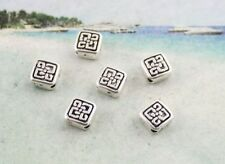 80PCS Tibetan silver floral square spacer beads FC8913