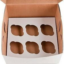 25 Cupcake Box holds 6 each WHITE 10x10x4 Bakery/Cake Box and Inserts for 150