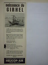 1960'S PUB HELICOP-AIR AVION AUTOGIRE GIRHEL LEPERE CIERVA ORIGINAL FRENCH AD