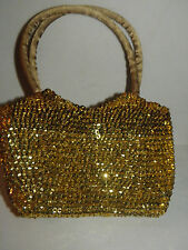 GLITTERING GOLD SEQUIN SMALL EVENING BAG PURSE PROM NEW YEARS EVE CHRISTMAS NEW