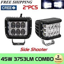 2X 4inch 45W Side Shooter Pod LED Work Light Bar Spot Flood Beam Driving SUV 90W