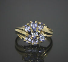 $910 10K Solid Yellow Gold Oval Light Purple Tanzanite Cocktail Ring Band Size 6