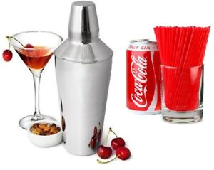 3 Piece Manhattan Cocktail Shaker Built In Strainer Stainless Steel + Red Straws