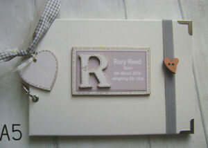 PERSONALISED NEW BABY GIFT GIRL/BOY...A5 SIZE PHOTO ALBUM/SCRAPBOOK/MEMORY BOOK.