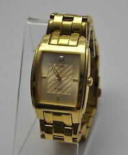 Guess G11613G Classic Rectangular Diamond Gold Tone Steel Mens Watch