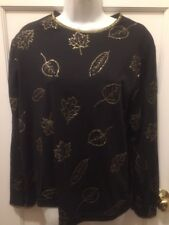 Woman's Blair Embroidered Black Gold Leaf Blouse Top Long Sleeves  Size Lg L Euc