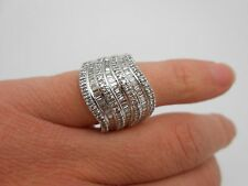 WOW Massive 14k Solid White Gold 2.00ctw Sparkling Diamond Cocktail Ring Size 5