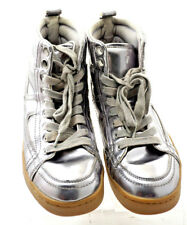 Calvin Klein Silver Metallic High Top Mirror Mens Shoes Sneakers Rare 8.5