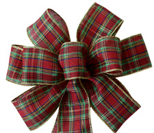 """10"""" Hand Made Red, Gold & Green Plaid Wired Bow - Christmas Wreath Holiday"""