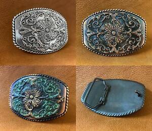"""Western Antique Floral Engraved Ornate Belt Buckle Fits 1-1/2"""" Belt"""