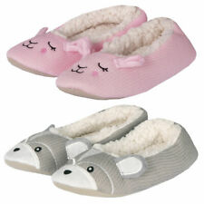 Ladies Womens Novelty Indoor Slippers Soft Knitted Faux Fur Ballerina House Shoe