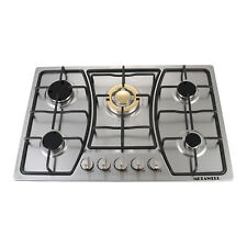 """30"""" Stainless Steel 5 Burners  Built-In Gas Cooktop & Main Gold Burners Cooker"""