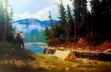 "Summer Camp By Brett Smith Camping Mountain Stream Art Print Image 25"" x 16.5"""