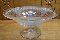 Quality Floral Art Etched Glass Raised Bowl Or Compote