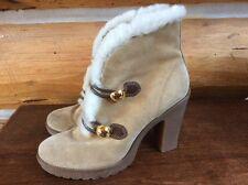 Coach Lenora Suede Ankle Boots Tan Color Sz 9 M High heel