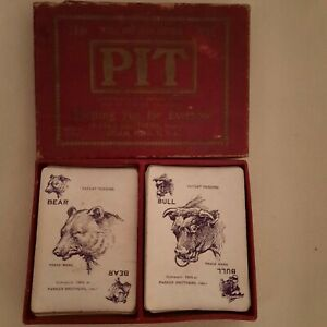 Antique PIT card game bull and bear Parker Bros.USA 1904 edition.