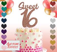 Sweet 16 Personalised Custom Glitter Cake Topper 16th Birthday Glitter Sixteen