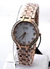 Citizen Eco-Drive Bella Women Rose Gold Stainless Steel Diamond Watch EM0123-50A