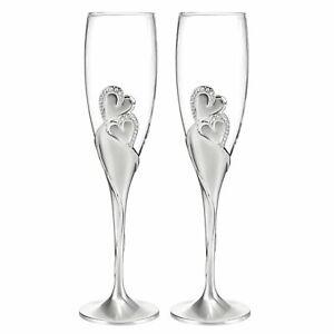 Hortense B. Hewitt Wedding Sparkling Love Champagne Flutes, Set of 2 New