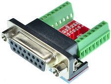 DB15 Female Breakout Board, adapter, D-Sub 15pin, (Female)  eLabGuy D15-F-BO-V2A