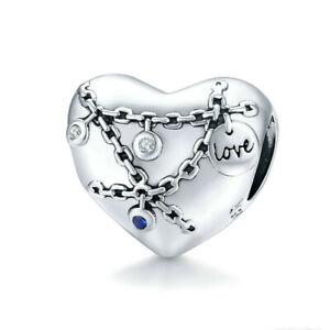 Diy New European Silver Cz Charm Beads Pendant Fit Bracelet Pendant Necklace Dl