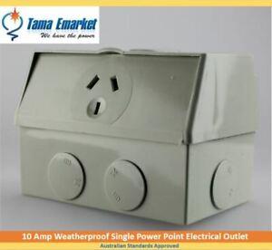 10 Amp IP53 Single Weatherproof GPO Power Point 10A Powerpoint Socket