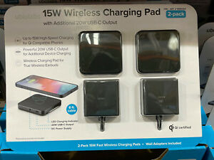 Ubiolabs 15W Wireless Charging Pad Wit Additional 20W USB-C Output 2-pack WCB261