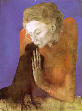 """Woman with Raven (1904) Signed Pablo Picasso - 17"""" x 22"""" Fine Art Print - 00483"""