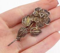 925 Sterling Silver - Vintage Dark Tone Filigree  Flower Brooch Pin - BP6054