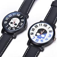 Retro Skull Punk PU Leather Band Bracelet Quartz Wrist Watch Men Women Gift HGUK