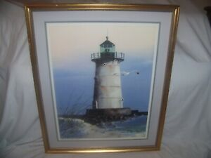Huey J. Theus-Artist GA, Ltd Litho Edgartown Lighthouse Martha's Vineyard Signed