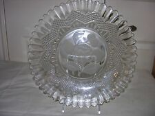 Vintage Clear Glass Platter with Star And Fruit Design