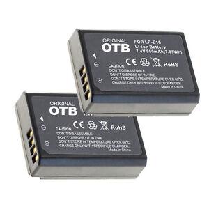2 x Akku für Canon EOS 1300D, 1200D, 1100D, 2000D, 4000D - LP-E10 - 950mAh