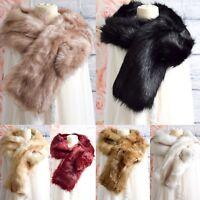 New Ladies Winter Faux Fur Scarf Neck Warmer Wrap Large Collar Shawl Warm Stole