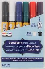 Marvy DecoFabric Broad Tip PAINT Markers Set 6 Primary Colors 222-6A