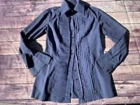 Finley Womens Tunic Shirt Button Up Pleated Front Blue Basket Weave Print Small