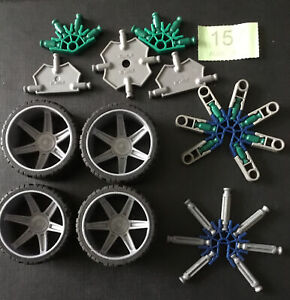 K'NEX Parts - 4 Large Wheels & Tyres  Plus All Parts In Photo -  KNEX  - Spares