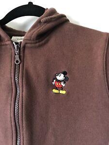 Boys L Large Disney Store brown hoodie jacket sweatshirt Mickey Mouse