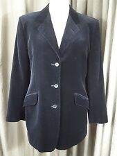 DAKS Signature Vintage 1980s Black Velvet Riding Slash Pockets Jacket UK16 EU44