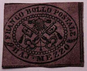 Papal states SCARCE  1852 1/2b violetto cupo mint+gum. €750. Sass 1Ab