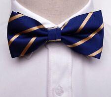 Cadeaux pour Hommes Bleu Marine Or à Rayures Homme Soie Mariage fonction Party Bow Tie