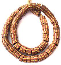 Venetian Antique Rusty Green Heart Drawn Stripes African Glass Trade beads