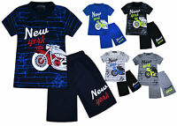Boys Summer Short Sleeve T-shirt Top and Shorts Set MotorBike New Age 2-10 Years