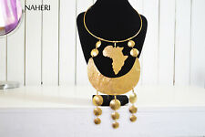 hammered metal jewelry gift for her African map brass necklace ethnic handmade