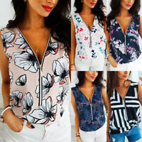 Womens Floral V Neck Zip Vests Ladies Sleeveless T-shirt Blouse Vests Tank Tops