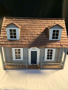 "Vintage Wood Double Sided Doll House w/Decor Handmade - 24""Wx12""Dx19""H"